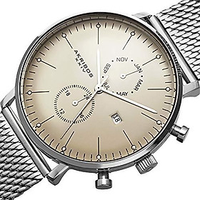 Akribos XXIV Men's Multifunction Watch - 2 Subdials Month, GMT and Date Window on Stainless Steel Mesh Bracelet - AK685