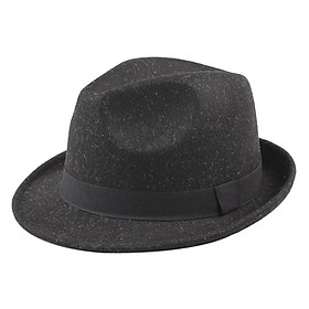 Wide Brim Men Women Fedora Hat Jazz Cap Unisex Sun Hat Solid Sunbonnet Trilby Beach Panama Hat - Black