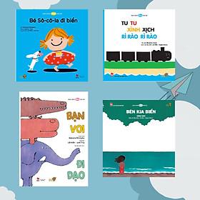 Mùa Hè thật vui – Combo 4 cuốn Ehon dành cho bé bắt đầu làm quen với Ehon Nhật Bản. Bao gồm: Bên kia biển, Tu tu xình xịch rì rào rì rào, Bé socola đi biển, Bạn Voi đi dạo.
