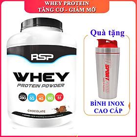 Combo Sữa tăng cơ giảm mỡ Whey Protein Powder của RSP hương Chocolate hộp 51 lần dùng hỗ trợ tăng cơ, phục hồi và phát triển cơ bắp cho người tập GYM và chơi thể thao & Bình Inox 739ML (Mẫu ngẫu nhiên)