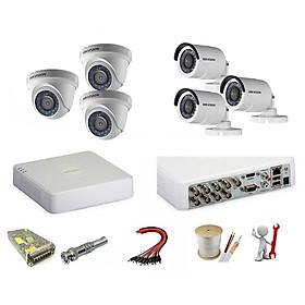 Trọn bộ 6 camera Hikvision 2.0 Megapixel - Hàng chính hãng