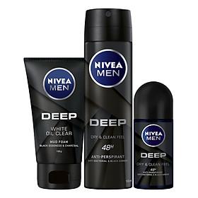 Bộ 3 sản phẩm Xịt và Lăn Ngăn Mùi NIVEA MEN DEEP Than Đen Hoạt Tính (Xịt 150ml - 80027 & Lăn 50ml - 80031) & Sữa Rửa Mặt NIVEA MEN DEEP Than Đen Hoạt Tính Hút Nhờn Sáng Da (100G) - 84415
