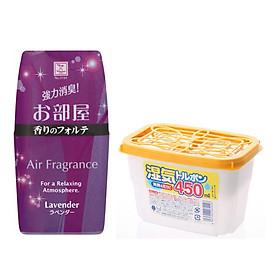 Combo hộp hút ẩm 450ml + hộp thơm phòng hương lavender nội địa Nhật Bản