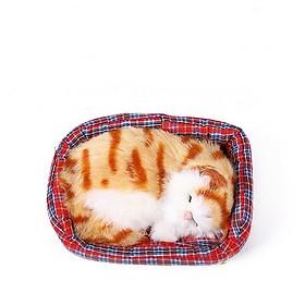 Mô hình Mèo Nằm Ngủ Trong Nôi Trang Trí Ô Tô Nhà Cửa