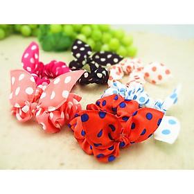 Combo 01 Dây buộc tóc  Cherry Scrunchies dễ thương Kèm vòng tay chỉ đỏ may mắn Thailand