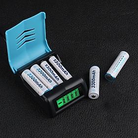 Combo 4 pin AA 3000mAh và sạc nhanh có màn LCD hiển thị thông số từng viên - Combo LCD super charge and 4 AA Ni-MH battery