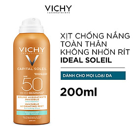 Kem Chống Nắng Toàn Thân Vichy Dạng Xịt SPF 50 PA+++ Ideal Soleil Invisible Hydrating Mist 200ml