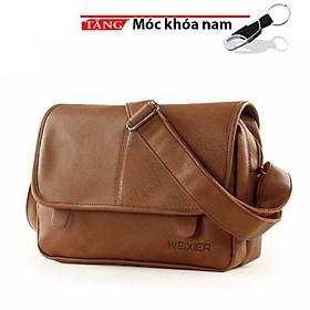 Túi đeo chéo nam nữ da siêu dày chống nước kiểu trơn 2 pát hít LKI612 tặng móc khóa cao cấp