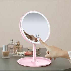 Gương trang điểm có đèn Led cảm ứng cao cấp, dụng cụ hỗ trợ trang điểm cao cấp tiện lợi - Màu hồng