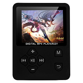 MP3 MP4 Digital Player 1.8 Inches Color Screen Music Player Lossless Audio Video Player Support E-book FM Radio Voice - Black