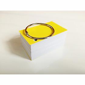 100 thẻ flashcard trắng cao cấp 5x8cm(góc vuông) tặng kèm khoen inox +bìa cứng dày học ngoại ngữ