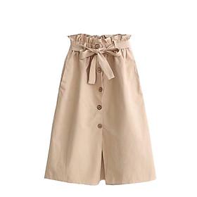 Chân váy nữ thời trang dáng dài kèm dây đai thắt nơ vải kaki cao cấp free size VAY03