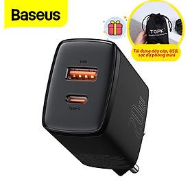 (Tặng túi đựng TOPK) Củ sạc nhanh Baseus mini 20W, hai cổng sạc USB và Type-C sạc nhanh cho iPhone, Samsung, Xiaomi, Huawei,…-Hàng chính hãng