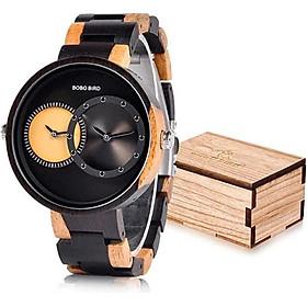 BOBO BIRD R10 Men's Women's 2 Time Zone Wooden Watches Lightweight Luxury Quartz Wristwatches Fashion Design Timepiece for Love