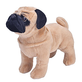 Baby Kids Plush Stuffed Animal Toy Dog Pug Model, Children Sleeping Cuddly Toy, 33 x 13 x 27cm