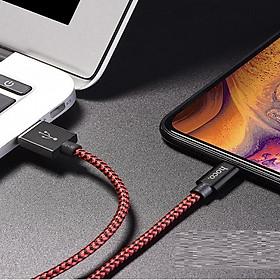 Cáp sạc cổng Lightning Hoco sạc nhanh 3A Max dây sạc bọc dù hỗ trợ truyền dữ liệu dành cho iPhone/iPad dài 1m ( 2 màu)  - Hàng chính hãng
