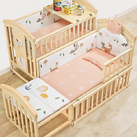 Giường cũi kéo dài cho bé kèm nệm xơ dừa, quây cũi hoàng gia, gối đầu, màn cũi. Tặng kèm bộ treo nôi cũi phát nhạc