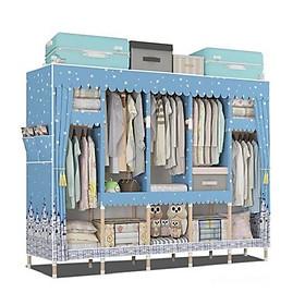 (TỦ SIÊU TO)Tủ vải khung gỗ 5 buồng 10 ngăn, khung gỗ vuông, sàn ván   kích thước 205*44*170 cm