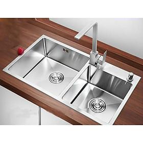 Combo Chậu Rửa  Chén Đúc Inox  304 Kích Thước 82x45 cm ,vòi rửa chén vuông nóng lạnh,bình xà phòng , rỗ đựng chén
