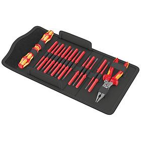 Bộ tua vít cách điện Wera 17 cái Kraftform Kompakt VDE 17 extra slim 1 với kiềm điện đa năng hãng Knipex 13 96 200 - Wera 05136027001