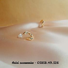 Khuyên tai bông tai màu vàng phong cách Hàn Quốc nữ Axixi acessories