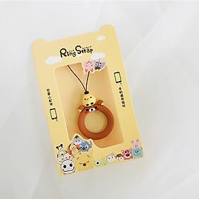 Dây đeo điện thoại, bóp ví, móc khoá loại ngắn xỏ ngón tay, khoen tròn hoạt hình xinh xắn-10 cm