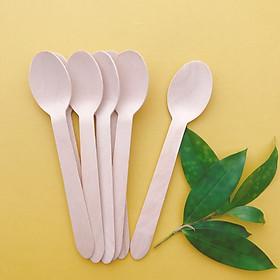 Eco Wooden Bộ 100 Chiếc Muỗng (Thìa) 16cm bằng gỗ mẫu đầu tròn sử dụng một lần thân thiện với môi trường