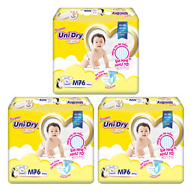 Combo 3 Tã Dán Cho Bé UniDry (G6+) size M76 (76 Miếng)