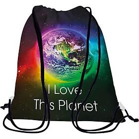 Túi Rút Unisex In Hình I Love This Planet - BDGA028