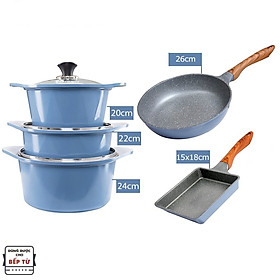 Combo 5 món cao cấp, nồi đúc ceramic đế từ xanh size 20-22-24cm, chảo vân đá ceramic đế từ vuông size 15x18cm và tròn size 26cm màu xanh (dùng được tất cả các bếp, kể cả bếp từ)  - Hàng chính hãng