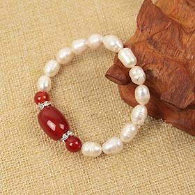 Combo Vòng đeo tay Ngọc Trai Nuôi cấy tự nhiên đính đá Cẩm Thạch, Tặng kèm hộp Lót Nhung Gấm