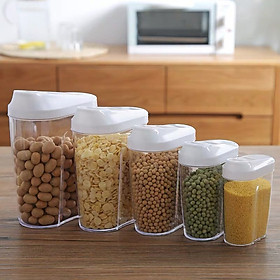 Set 5 hộp đựng thực phẩm sạch, đồ khô, tươi sống bằng nhựa PP cao cấp