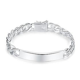 Men'S Geometric Silver Cable Chain Bracelet