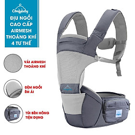 Địu ngồi trẻ em cao cấp siêu mềm 4 tư thế công nghệ Air Mesh thoáng khí - Comfybaby CF818 - tặng yếm tam giác