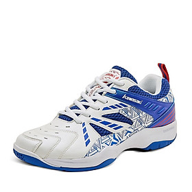 Giày cầu lông, bóng chuyền Kawasaki K080 màu trắng xanh, êm ái, thoáng khí, chống lật cổ chân, dành cho nam và nữ đủ size
