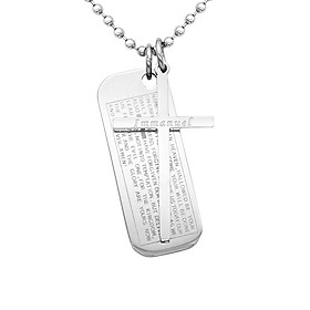Classic Stainless Steel Bible Cross Rectangle Immanuel Pendant Necklace Gift