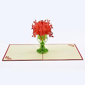 Thiệp nổi 3D Lẵng Hoa Nhiều Màu Sắc  Quà Tặng Cho Ngày Sinh Nhật, Các Dịp Lễ, Thiệp Cảm Ơn, Size 15x15cm FL009