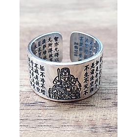 Nhẫn Phong Thủy Phật hộ mệnh Phật Bất Động Minh Vương cho Nữ  Mệnh Thổ  Bạc Thái 9999 AZU1-2