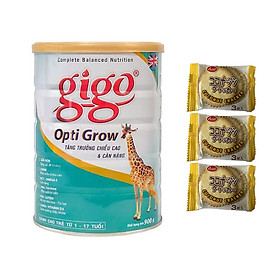 Sữa Bột  Gigo Opti Grow (900g) - Giúp tăng trưởng chiều cao và cân nặng cho trẻ từ 1 đến 17 tuổi - Tặng 03 bánh quy dừa Nhật Bản hiệu Aee