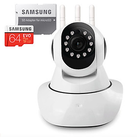 Camera IP Wifi 3 Râu Dùng Phần Mềm YooSee - Hàng Nhập Khẩu đi kèm thẻ nhớ 64gb Samsung+ adapter