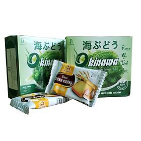 Combo 2 hộp Rong nho tươi tách nước Okinawa 100g (5 gói x 20g) + tặng kèm 2 gói bánh trứng Gia Khánh