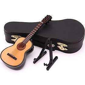 Mini Classical Guitar Miniature Model Wooden Mini Musical Instrument Model with Case Stand