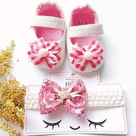 Bộ sản phẩm Giày tập đi + 1 Băng Đô cho bé gái sơ sinh từ 0 - 12 tháng - Quà tặng thôi nôi- Ma04 - màu trắng nơ đỏ