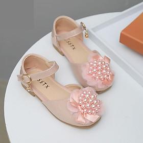 Giày Búp Bê Bé Gái Gắn Nơ Đính Ngọc Trai Lấp Lánh Giày Bé Gái từ 3-10 tuổi Phong Cách Công Chúa