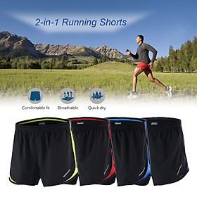 Arsuxeo Men's 2 in 1 Running Shorts Quick Dry Marathon Training Fitness Running Cycling Sports Shorts Trunks-1
