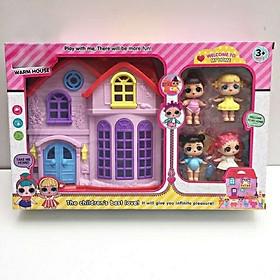 Lắp ráp, xếp hình nhà 2 tầng búp bê suprising doll LOL có nhạc, đèn kèm đồ nội thất