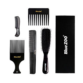 Blue ZOO Plastic Barber Combs 5PCS Hair Brushes Hair Cutting Styling Combs Kit for Salon Hairdressing Combs Kit Hair