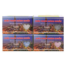 Combo 4 Hộp Khẩu Trang Kháng Khuẩn Hy Nam 4 Lớp - Xanh, Hồng, Trắng, Xám