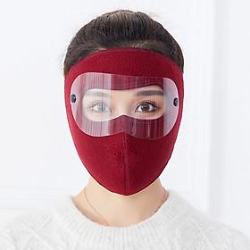 Khẩu trang ninja vải nỉ có kính chống bụi dán gáy che kín tai chống nắng chồng gió bụi chạy xe phượt nam nữ - khau trang ni