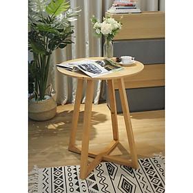 Bàn tròn cafe chân chéo, mặt bàn gỗ